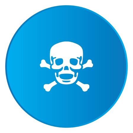 cross bones: A White Icon Isolated on a Blue Button - Skull and Cross Bones