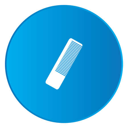 hairbrush: A White Icon Isolated on a Blue Button - Hairbrush Stock Photo