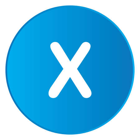 x files: A White Icon Isolated on a Blue Button - X Stock Photo