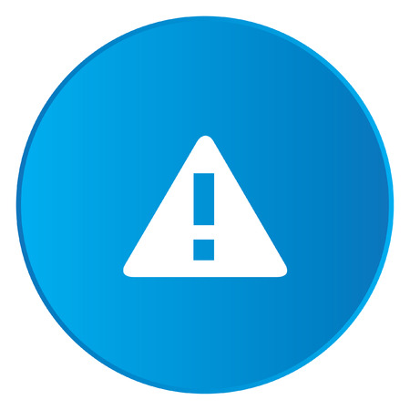 triangle button: A White Icon Isolated on a Blue Button - Triangle Exclamation