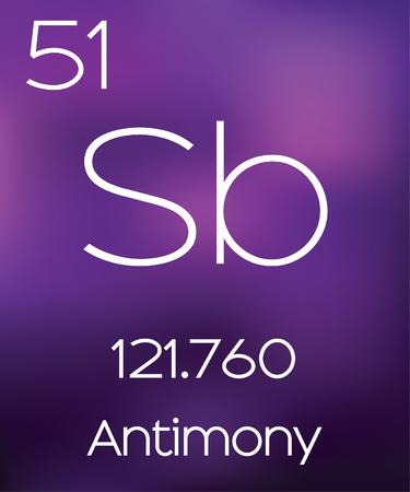 antimony: Purple Background with the Element Antimony