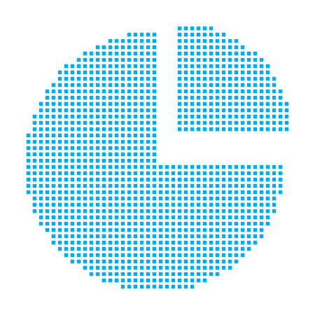 exploded: A Blue Mosaic Icon Isolated on a White Background - Pie Chart Exploded