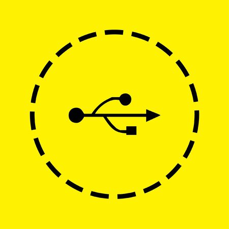 serial: A black Icon Isolated on a yellow Background - USB Universal Serial Bus