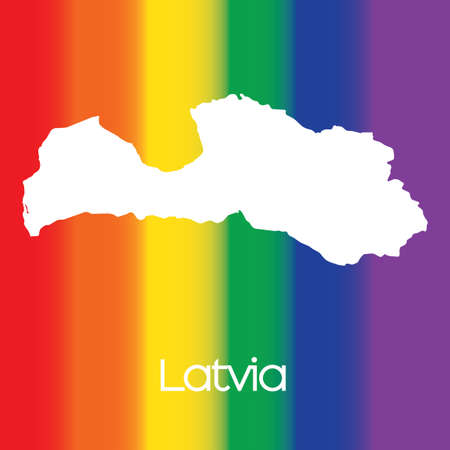 latvia: A Map of the country of Latvia Stock Photo