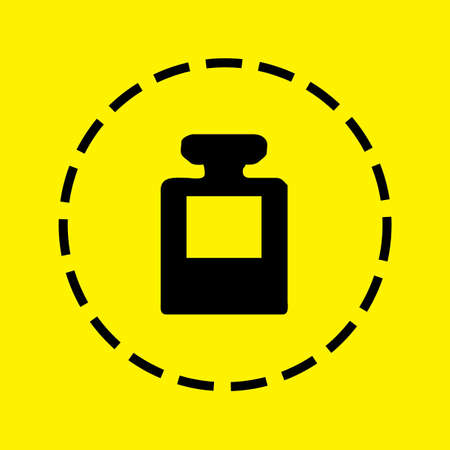 ink pot: A black Icon Isolated on a yellow Background - Ink Pot