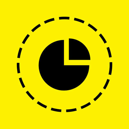 exploded: A black Icon Isolated on a yellow Background - Pie Chart Exploded Stock Photo