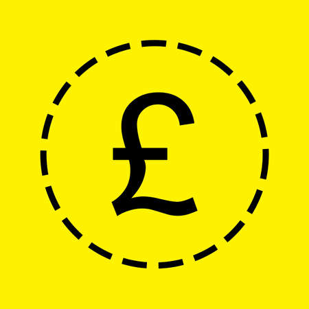 pound sign: A black Icon Isolated on a yellow Background - Pound Sign