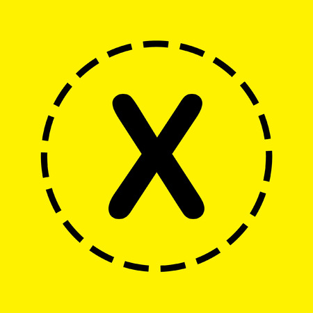 x files: A black Icon Isolated on a yellow Background - X Stock Photo