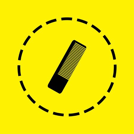 hairbrush: A black Icon Isolated on a yellow Background - Hairbrush Stock Photo