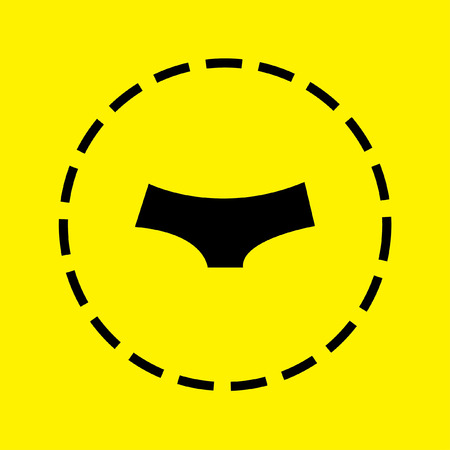 briefs: A black Icon Isolated on a yellow Background - Women Briefs