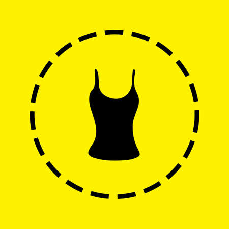 vest in isolated: A black Icon Isolated on a yellow Background - Vest Top Stock Photo