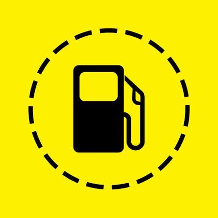 petrol pump: A black Icon Isolated on a yellow Background - Petrol Pump