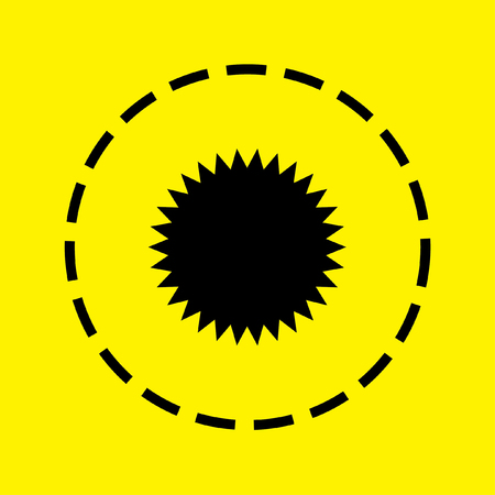spikey: A black Icon Isolated on a yellow Background - Spikey Circle