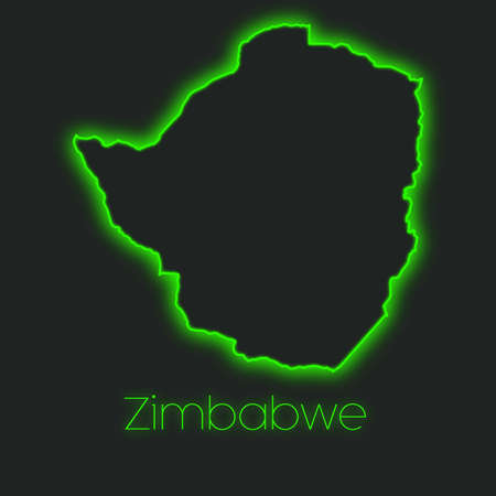 zimbabwe: A Neon outline of Zimbabwe Stock Photo