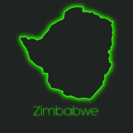 zimbabwe: Un esquema de neón de Zimbabwe
