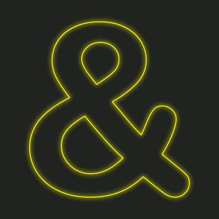 ampersand: A Neon Icon Isolated on a Black Background - Ampersand