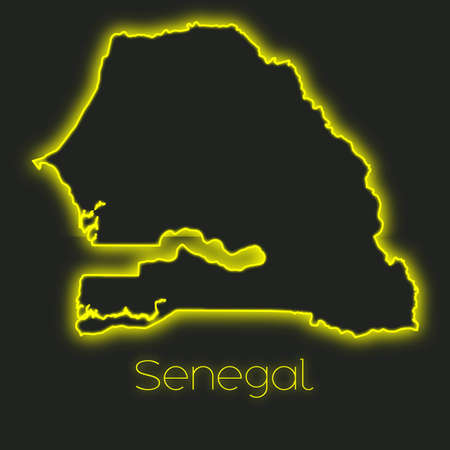 senegal: A Neon outline of Senegal Stock Photo