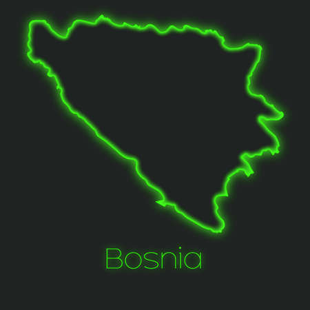 bosnia: A Neon outline of Bosnia Stock Photo