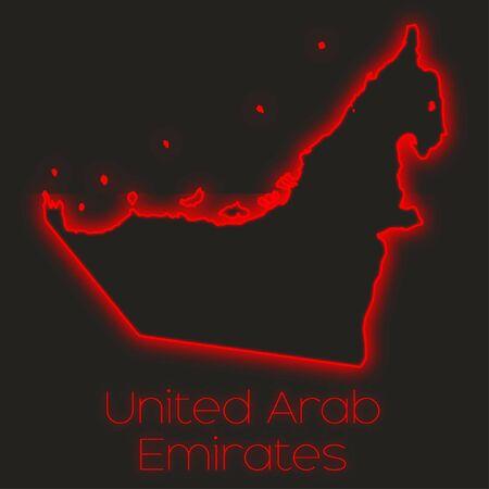 united arab emirates: A Neon outline of United Arab Emirates
