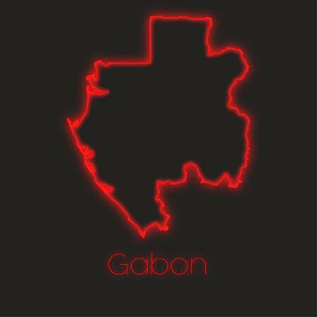 gabon: A Neon outline of Gabon