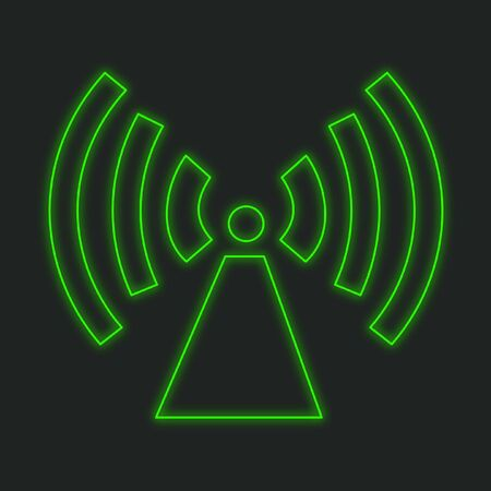 radio tower: A Neon Icon Isolated on a Black Background - Radio Tower