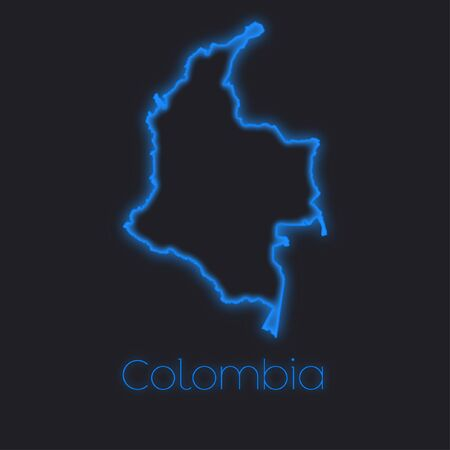 colombia: A Neon outline of Colombia