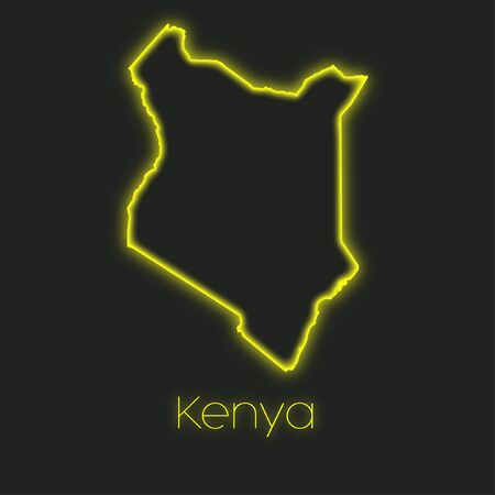 kenya: A Neon outline of Kenya Stock Photo