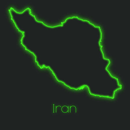 iran: A Neon outline of Iran Stock Photo
