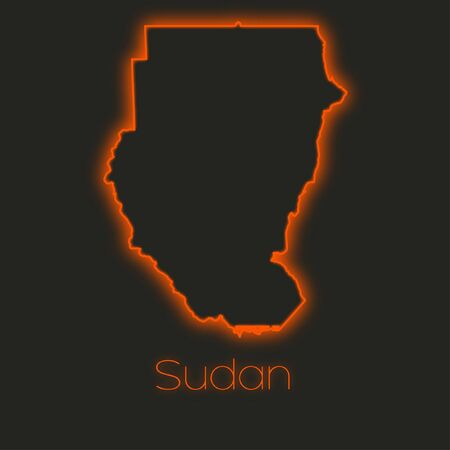 sudan: A Neon outline of Sudan Stock Photo