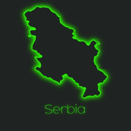 serbia: A Neon outline of Serbia Stock Photo