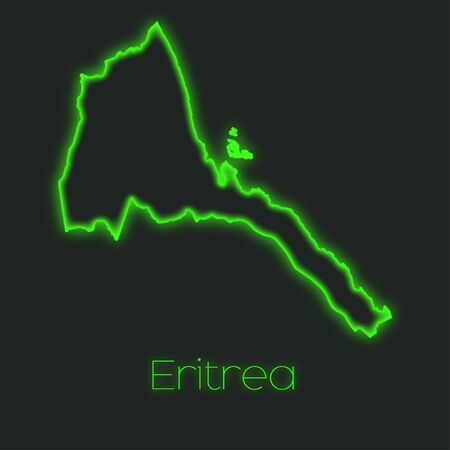 eritrea: A Neon outline of Eritrea