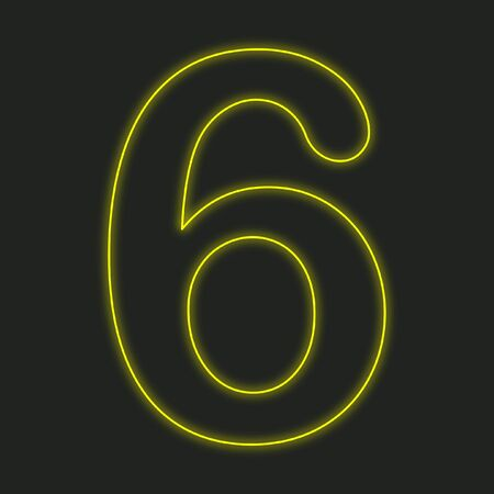 six web website: A Neon Icon Isolated on a Black Background - 6 Stock Photo