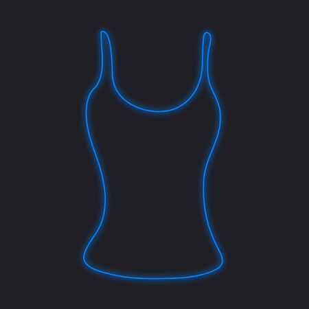 vest in isolated: A Neon Icon Isolated on a Black Background - Vest Top Stock Photo
