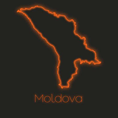 moldova: A Neon outline of Moldova