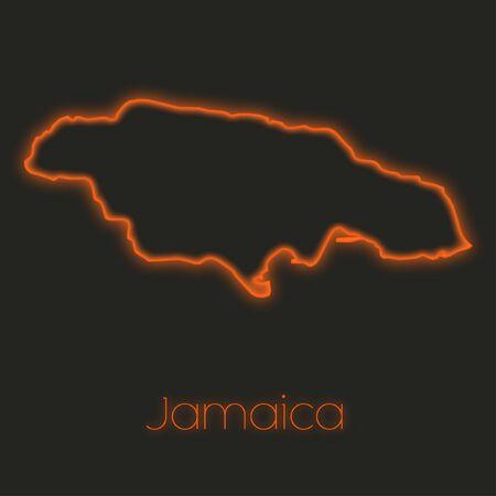 jamaica: A Neon outline of Jamaica Stock Photo
