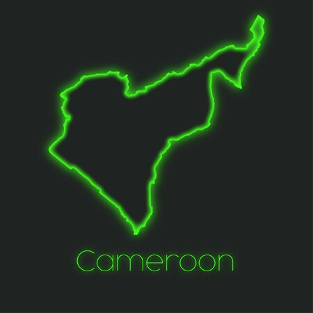 cameroon: A Neon outline of Cameroon