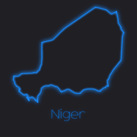 niger: A Neon outline of Niger