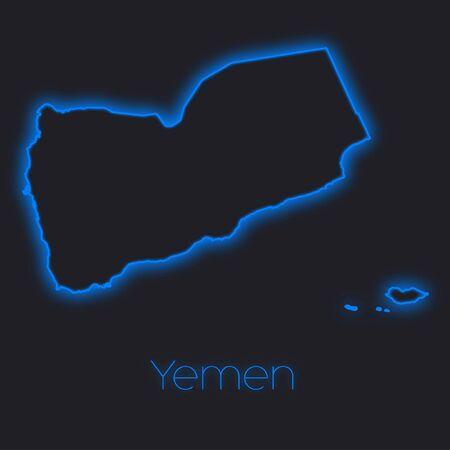 yemen: A Neon outline of Yemen