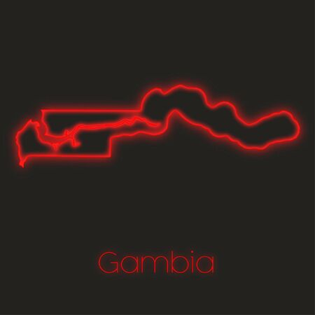 gambia: A Neon outline of Gambia