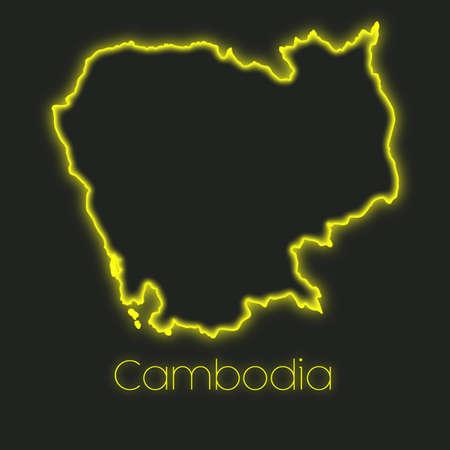 cambodia: A Neon outline of Cambodia