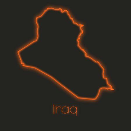iraq: A Neon outline of Iraq Stock Photo