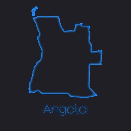 angola: A Neon outline of Angola Stock Photo