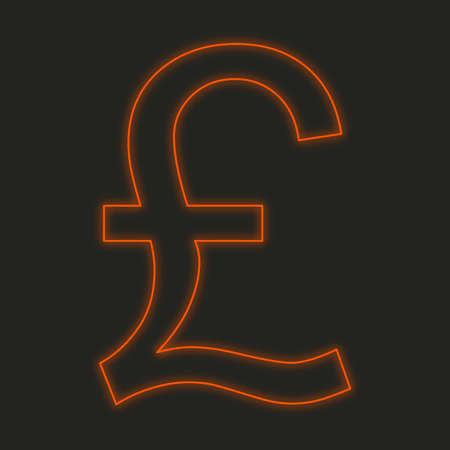 pound sign: A Neon Icon Isolated on a Black Background - Pound Sign Stock Photo