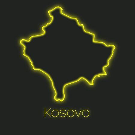kosovo: A Neon outline of Kosovo