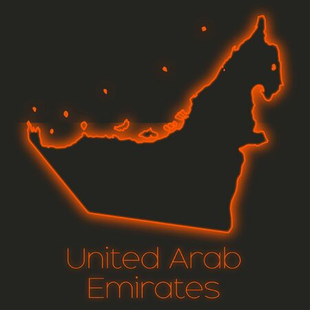 emirates: A Neon outline of United Arab Emirates