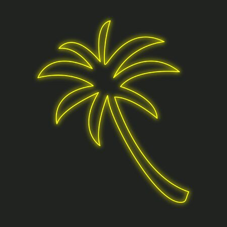palmtree: A Neon Icon Isolated on a Black Background - Palmtree Stock Photo
