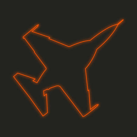 fighter jet: A Neon Icon Isolated on a Black Background - Fighter Jet