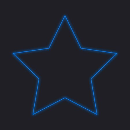 pointed: A Neon Icon Isolated on a Black Background - 5 Pointed Star Stock Photo