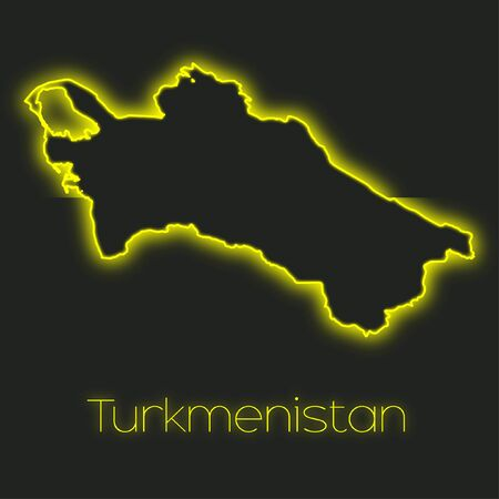 turkmenistan: A Neon outline of Turkmenistan Stock Photo