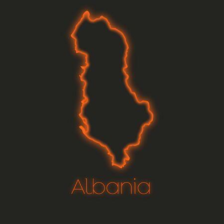 albania: A Neon outline of Albania Stock Photo